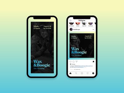 Wax&Boogie Instagram Posts typography gradient design streaming concert live concert instagram story instagram post graphicdesign announcement music concert