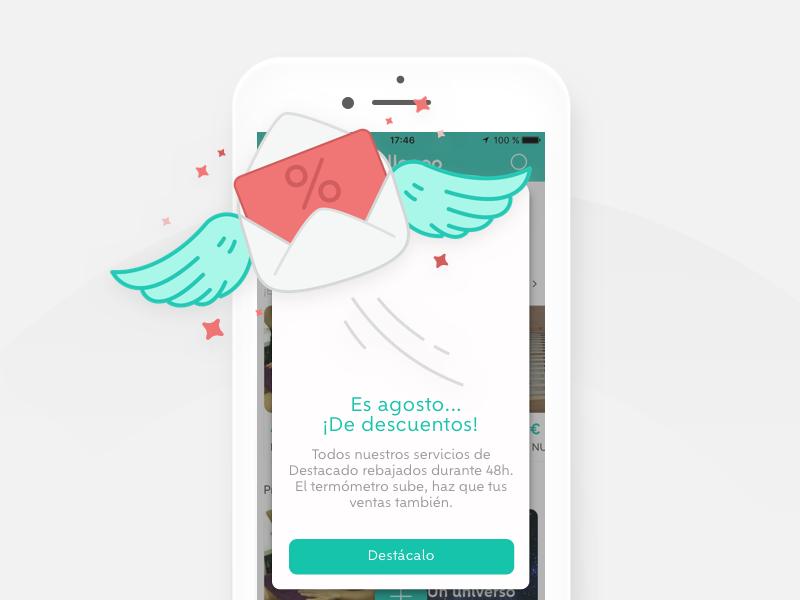 inApp Pop up 💌 illustration mobile app discount inapp popup wallapop