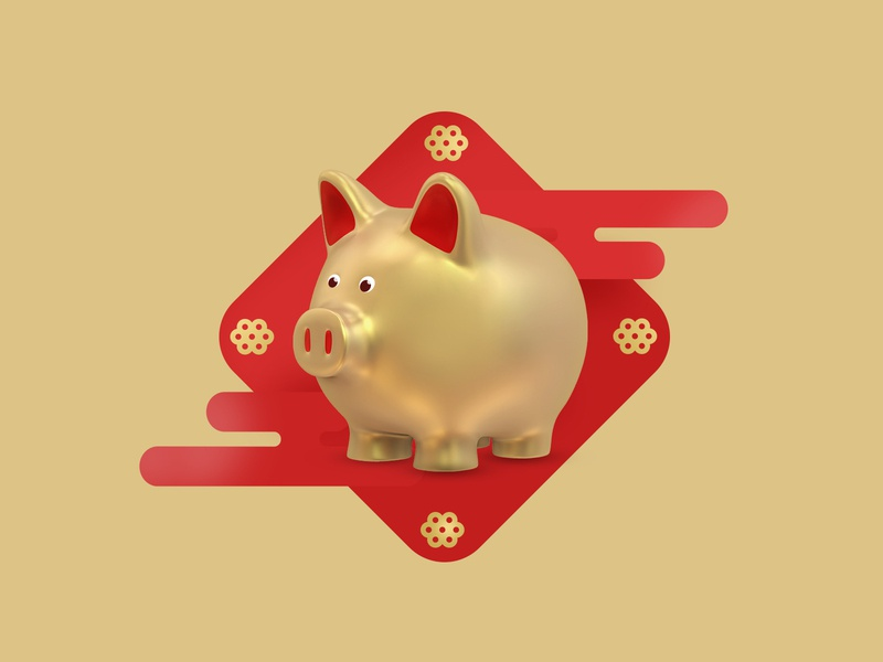 Happy New Year 🐽🎊 2019 new year 2019 gold piggy chinese pig design chinese new year pig new year chinese