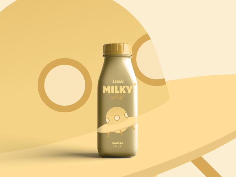 Vanilla milkshake vanilla bottle milkshake packaging galaxy space branding design graphic design branding design illustration