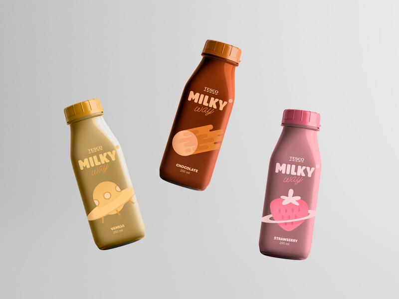 Milkyway Milkshakes ☄️ milkshake illustrations typography brand logo space packaging branding design graphic design branding design illustration