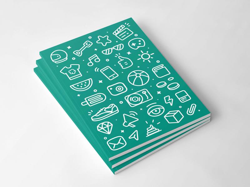 wallapop notebook paper brand design icons pattern vector packaging brand branding design graphic design branding design illustration