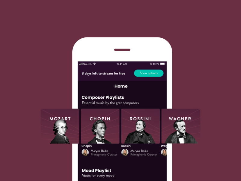 Composer Playlist - Music App brand branding design typography ux classical music composer music app ui music app app design app ui graphic design design