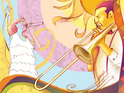 Summer concerts illustration hot summer music sketch
