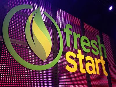 Fresh Start Signage logo design letters environment design sermon series handmade branding inhouse sign fabrication signage design signage