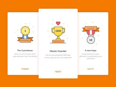 Achievement illustrations ui foodie illustration badges achievements