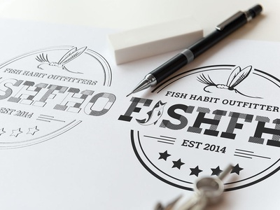 Fish Habit Outfitters vector design typography illustration logo