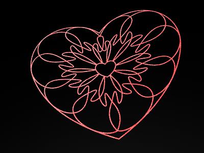 Black Pink Guilloche Hearts february 14 romantic valentines foil line art pink guilloche hearts