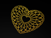 Gold Guilloche Hearts