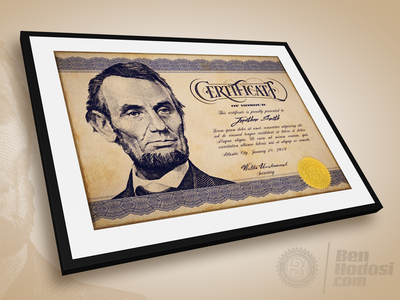 Vintage Certificate rough blue brown frame old style citizen usa honor gold seal seal engraving engraved guilloche elegant olde vintage certificate abe abraham lincoln lincoln