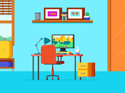 Remote work from home freelance home office remote remote work 2d design illustration