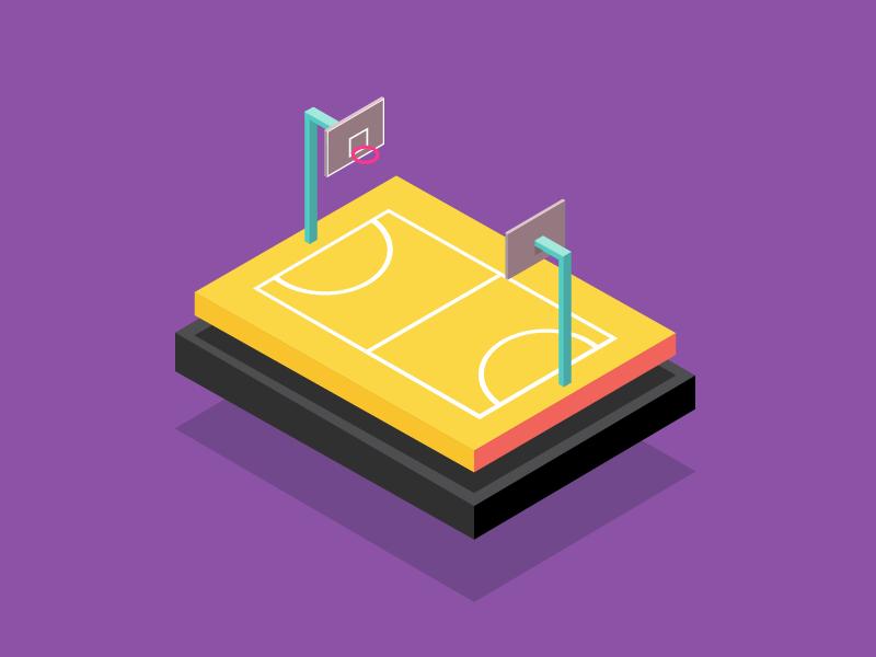 Court sport basketball concept illustration isometric