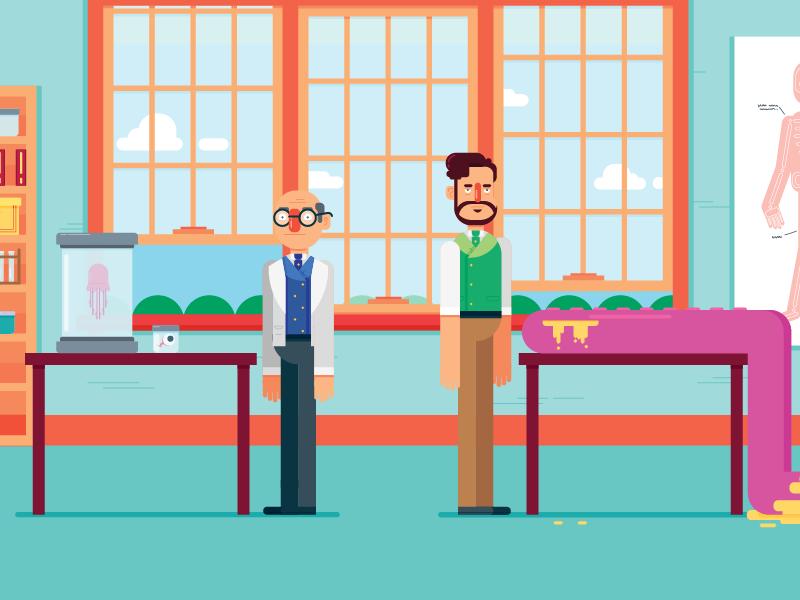 Lab explainer video scientists character design illustration design animation 2d