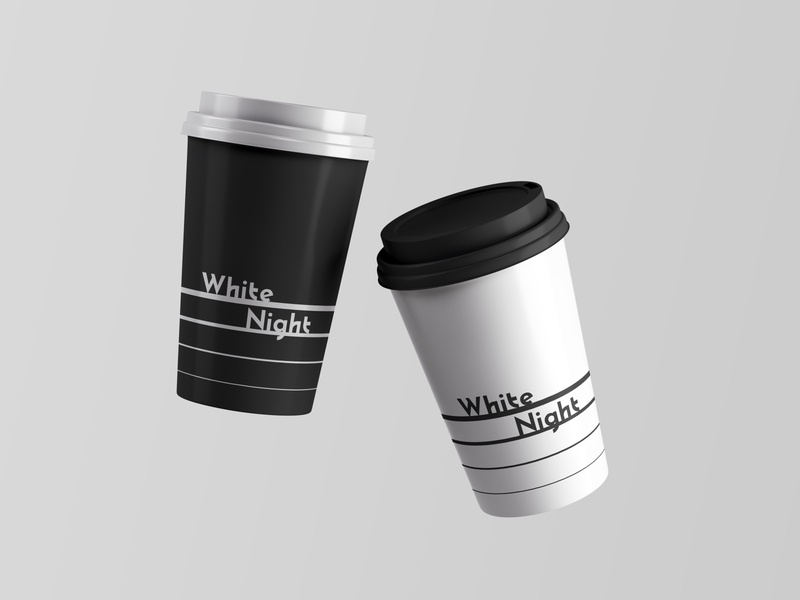 White Night Coffee Cup typography logo branding design
