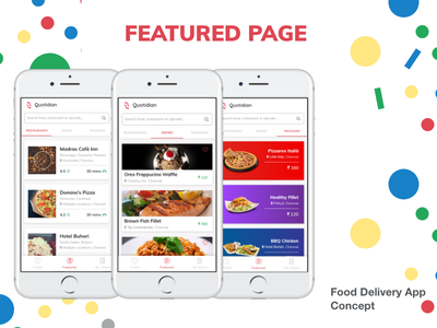 Food Delivery App Concept - Featured Page order online food delivery ui mobile app