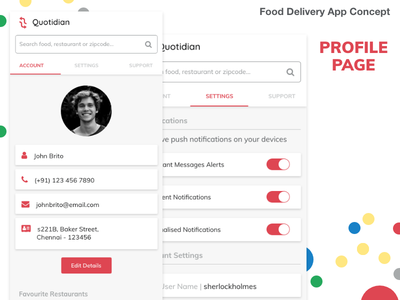 Food Delivery App Concept - Profile Page profile settings order online food delivery ui mobile app
