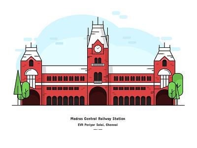 Madras Central Railway Station adobe illustrator central railways chennai digital art digital illustration madras concert one digital design illustration