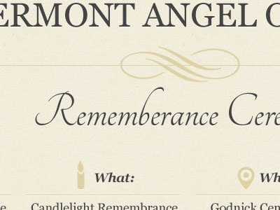 Vermont Angel of Hope website single page