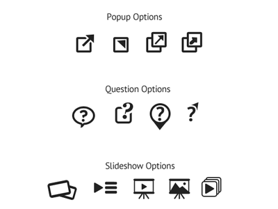 Icons popup question slideshow