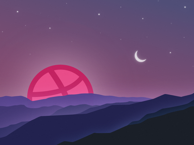 Hello Dribbble World. debut illustration first shot hello dribbble sunrise