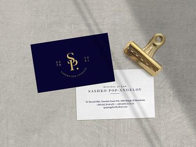 Sashko Pop-Angelov - Business Cards gold dark blue graphic design logo graphicdesign traditional visual identity business card logo
