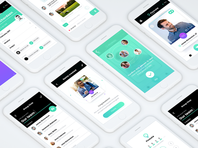 Social network messenger profile social network chat interface card navigation mobile app ux ui