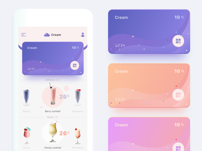 Free app concept cocktail mobile color card principle sketch prd animation app free