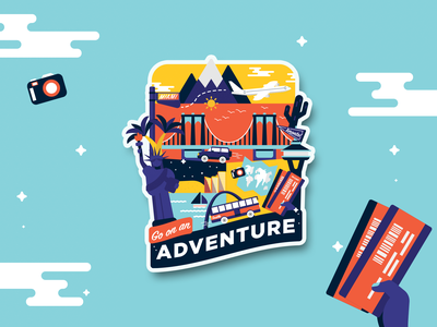 Go on an Adventure vacation roadtrip trip usa united states adventure stickers design vector typography illustration