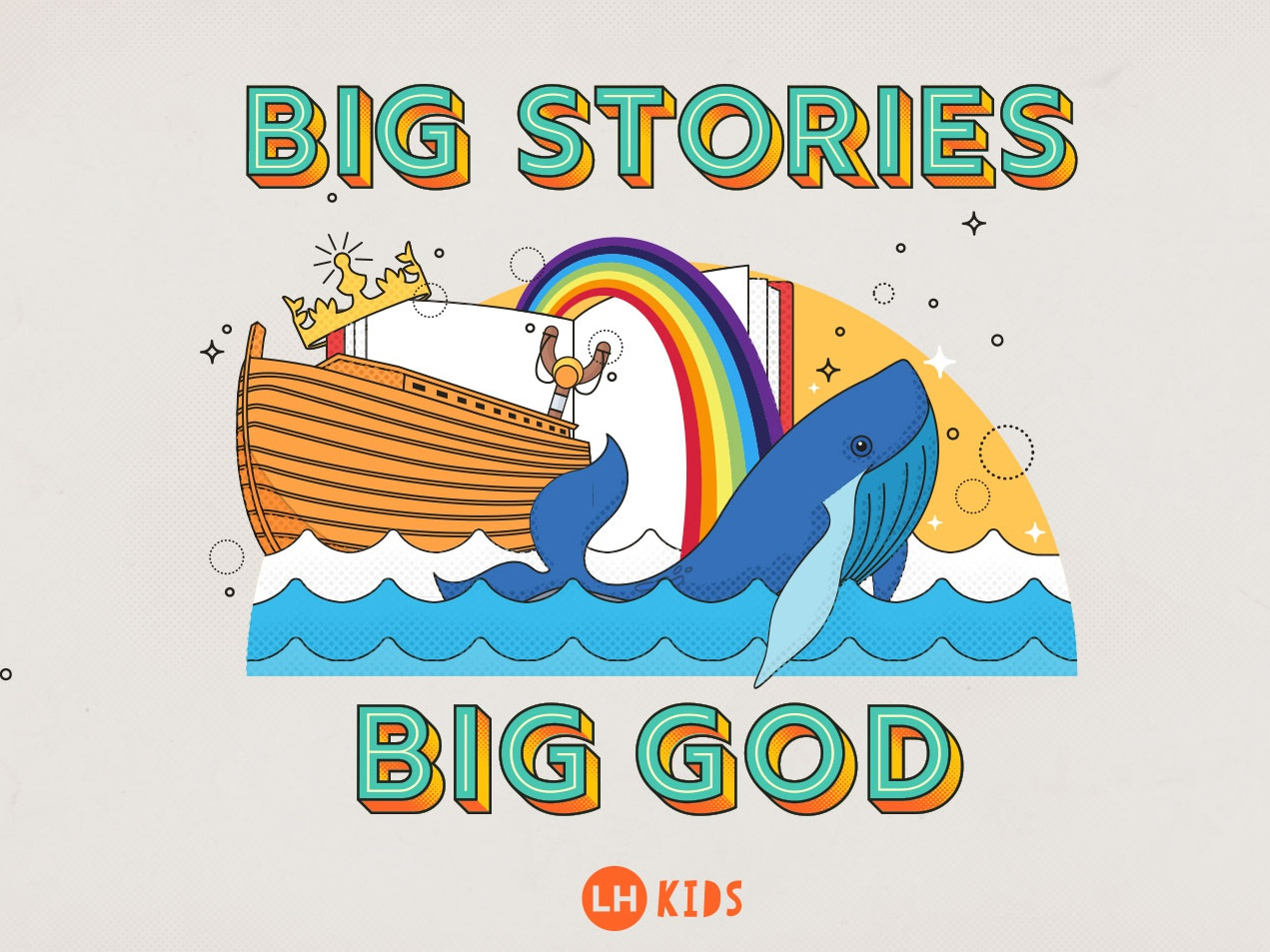 Big Stories, Big God kids illustration typography vector illustration sermon title sermon series sermon art kids sermon church