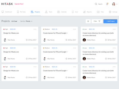 Hitask - Task Management note clean interface web ux ui management task dashboard crm
