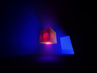 Cube Rotate #MagicaVoxel glass cube shadows lights minimalist 3d animation magicavoxel video
