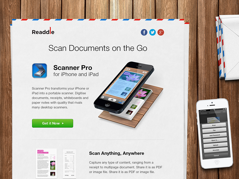 Scanner Pro - Newsletter scanner newsletter scan wood mail readdle top view scanner pro paper apple iphone ipad application ios