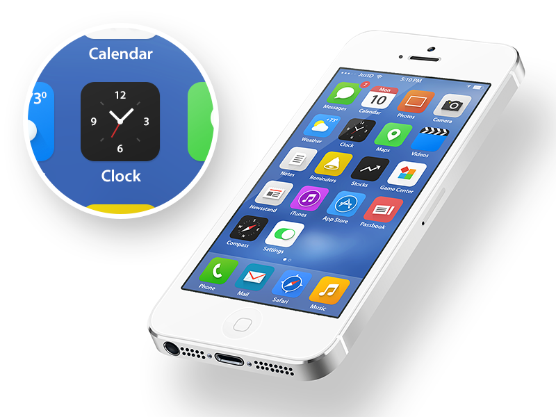 iOS 7 ios device ios7 redesign new flat icon screen iphone ipad apple clock photo safari music message maps reminder camera restyle compass mail itunes app store calendar settings passbook note