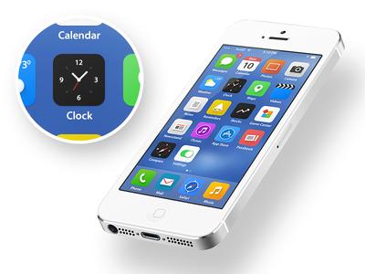 iOS 7 ios device ios7 redesign new flat icon screen iphone ipad apple clock photo safari music message maps reminder camera restyle
