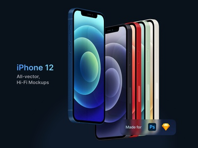 iPhone 12 - Vector, Hi-Fi Mockups template device apple great download psd photoshop vector sketch mockup ios 14 iphone mini iphone 12