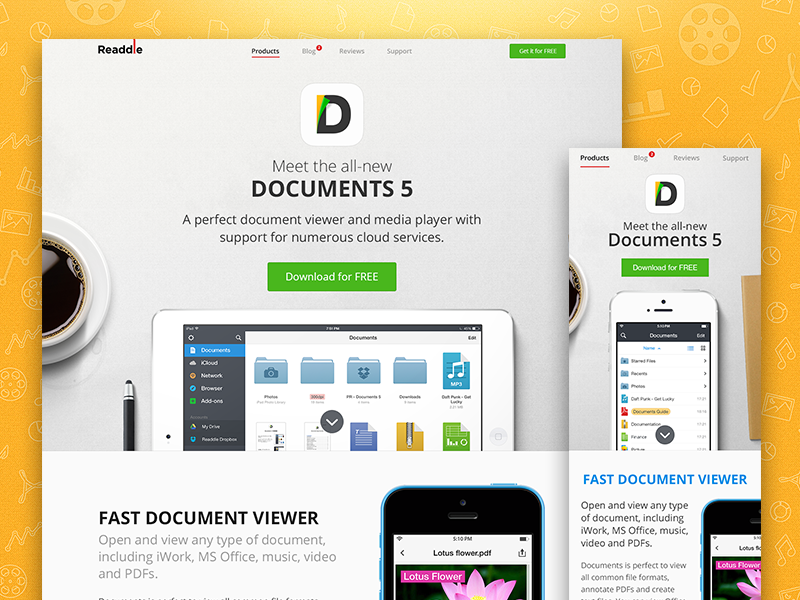 Documents 5 - Landing Page readdle document landing page iphone web manager file player dropbox ipad responsive