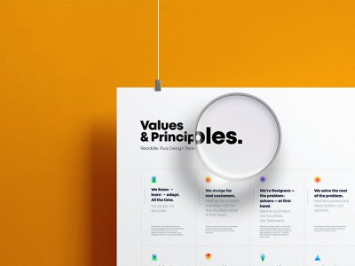 Our Values & Principles. Fluix Design Team cards print magnifier poster icons communication collaboration design team principle values design readdle