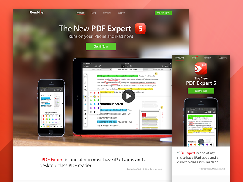 PDF Expert 5.1 - Landing Page responsive manager readdle pdf expert ipad iphone landing page photo apple site