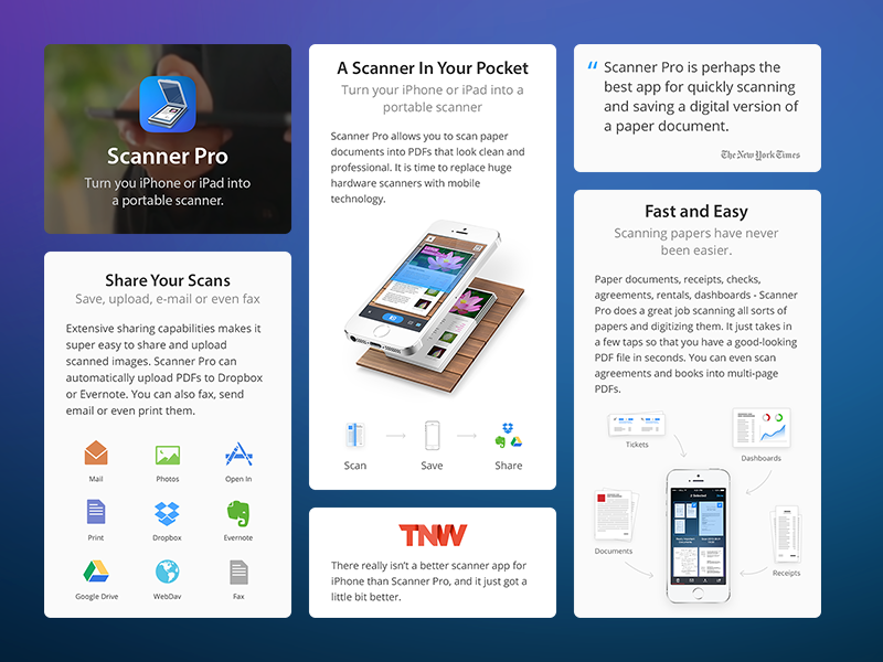 Scanner Pro 5 - Landing Page readdle landing web site dropbox scanner app ios pocket share scan evernote