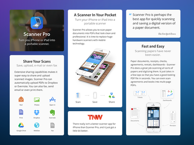 Scanner Pro 5 - Landing Page readdle landing web site dropbox scanner app ios pocket share scan evernote