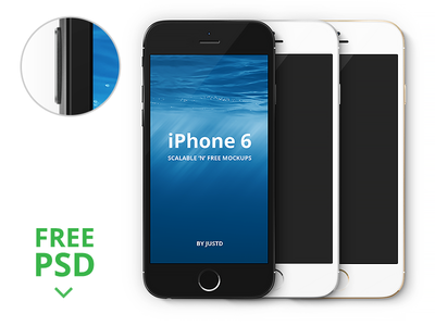 iPhone 6/7/8 - Scalable Mockups photoshop template iphone ios8 vector mockup psd free gold black front watch