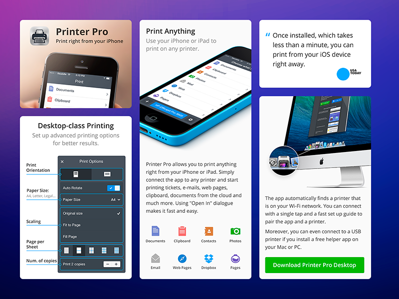 Printer Pro - Product page readdle printer icon ios iphone mac doc clipboard landing product page watch