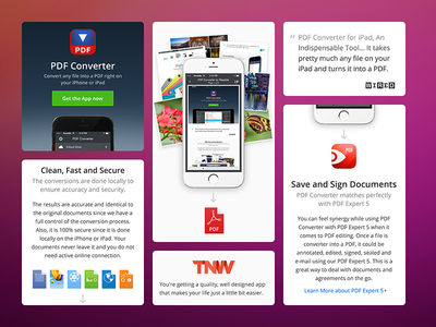 PDF Converter - Product Page readdle pdf ios iphone icon landing page web doc watch photo converter