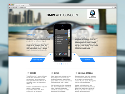 BMW App Concept - Landing Page