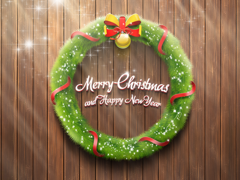 Merry Christmas & Happy New Year merry christmas new year wreath ball ribbon red green wood needles snow winter holiday