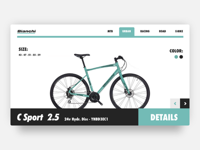 Bianchi's bike showroom landing product green website bike showroom