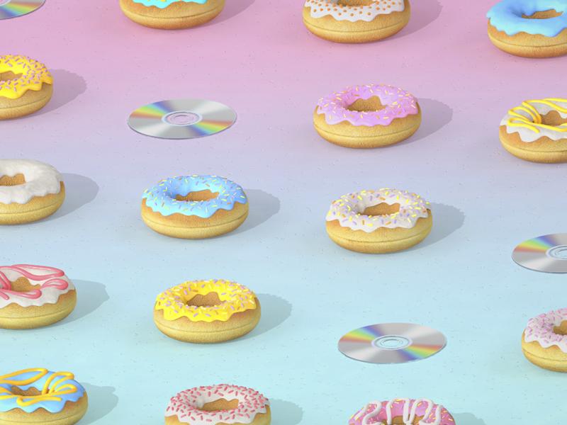 Doughnut & Disc pop pink gradient doughnut cd isometric ortographic patter illustration 3d render