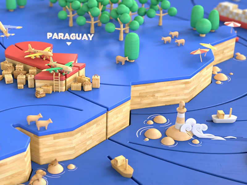 Wooden World illustration 3d render map characters animals wood world