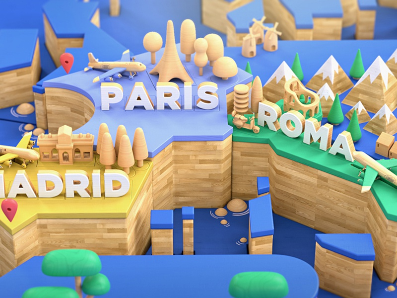 Wooden World illustration 3d render map characters madrid paris rome europe city wood world