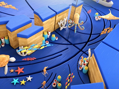 Wooden World illustration 3d render map characters animals octopus fish under sea wood world